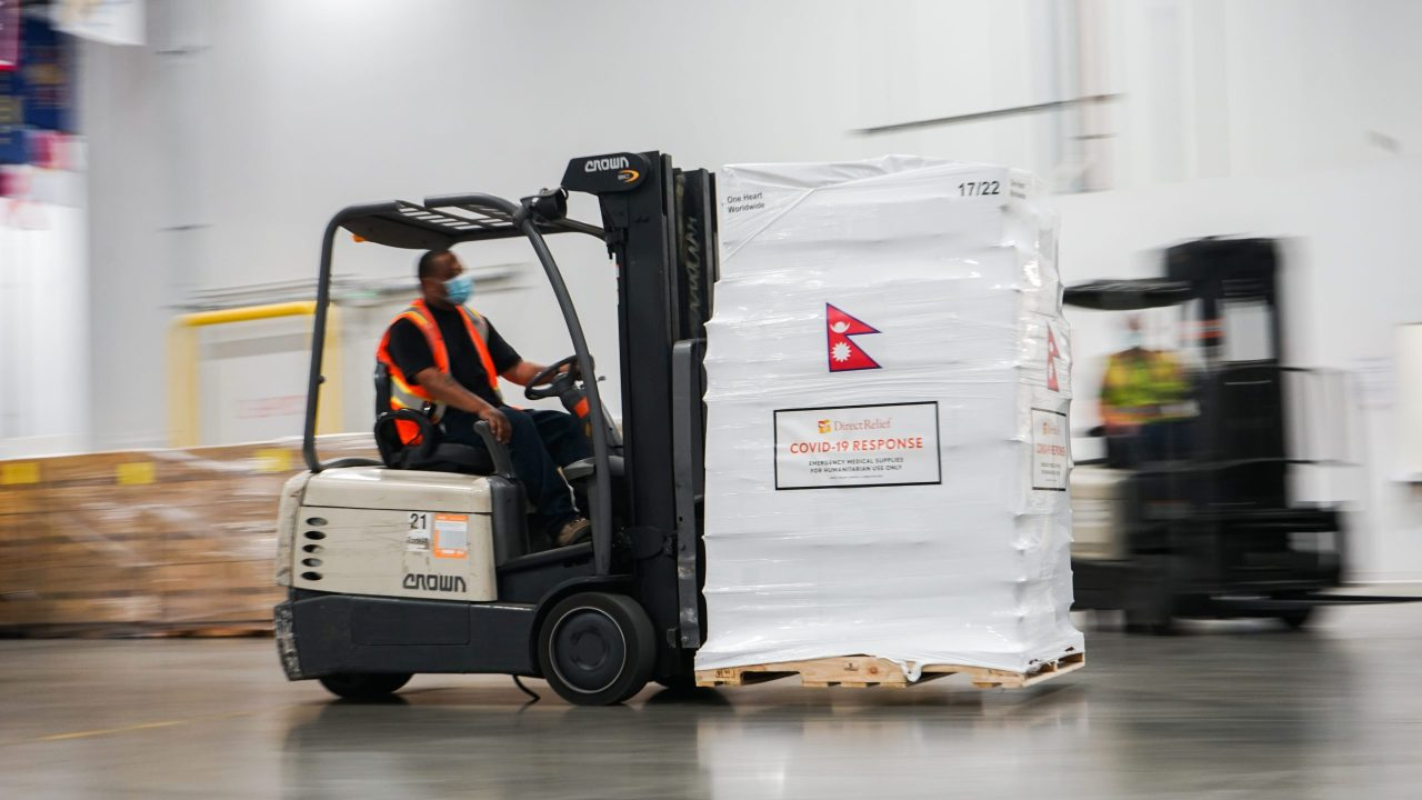 Medical aid departs Direct Relief's warehouse for Nepal on May 21, 2021, in response to a Covid-19 surge in the country. (Lara Cooper/Direct Relief)