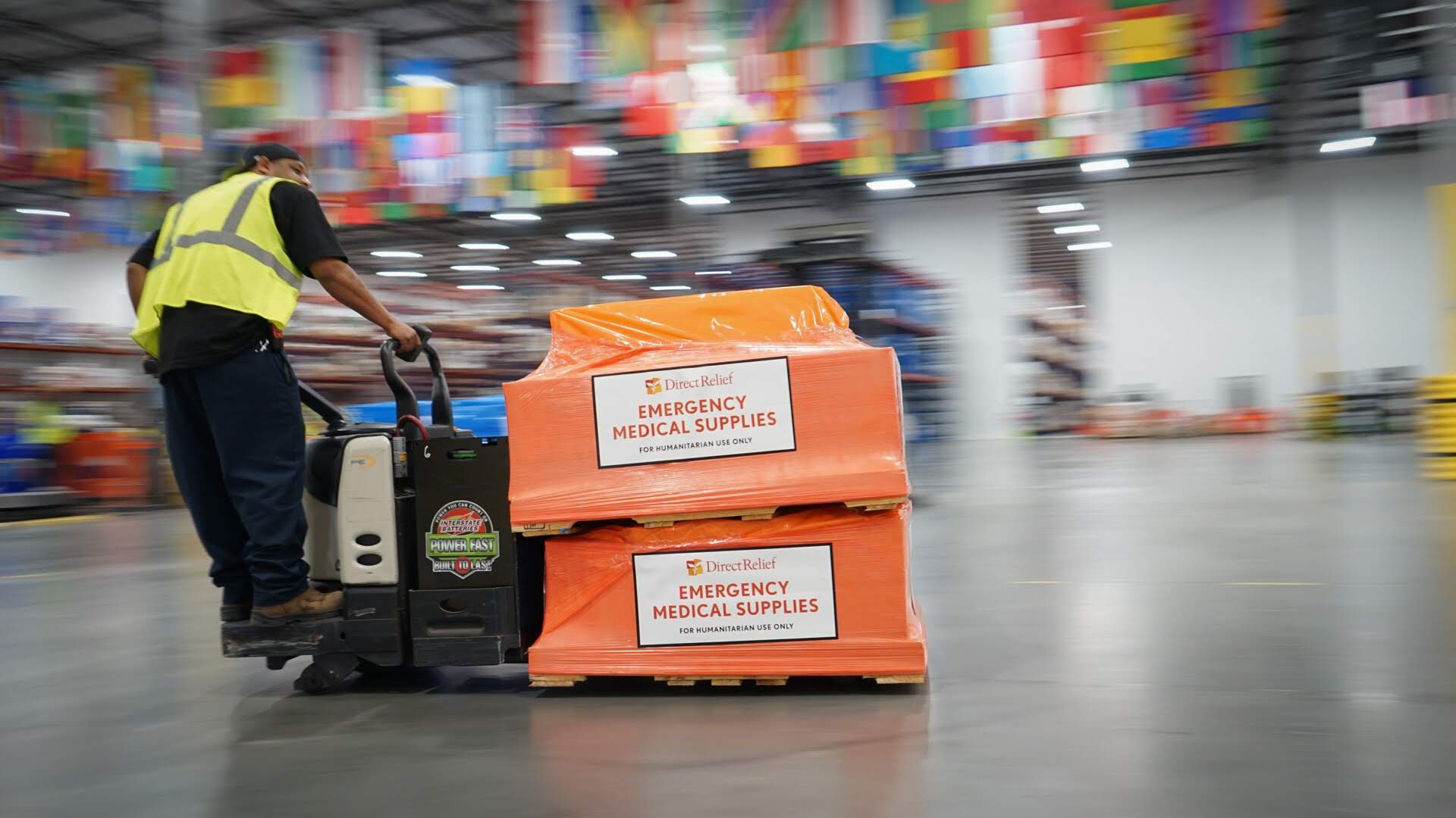 Direct Relief staff prepare medical supplies for shipment from Direct Relief's Santa Barbara warehouse to Saipan, Northern Mariana Islands, after Super Typhoon Yutu damaged many homes and health facilities in October 2018. (Lara Cooper/Direct Relief)