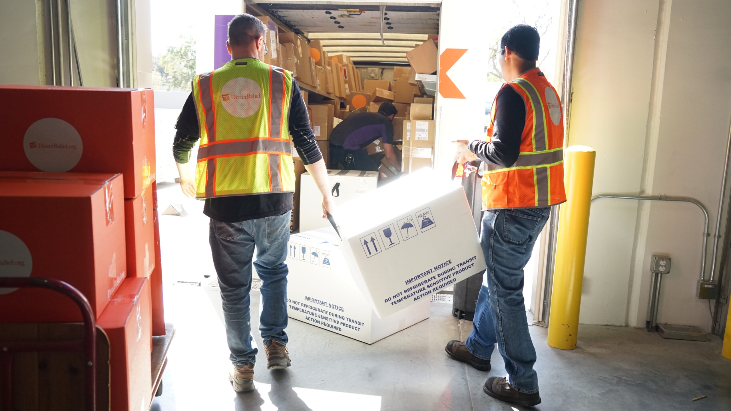 Shipments of vaccines and insulin leave Direct Relief's warehouse on March 21, 2019, bound for safety-net healthcare providers in states like Oklahoma, Kansas, New Jersey, Connecticut and many more. The shipments were part of Direct Relief's ongoing support of essential medicines to healthcare facilities across the United States. (Lara Cooper/Direct Relief)