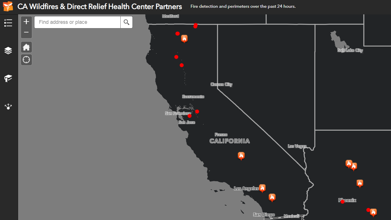California Wildfire Map | Direct Relief on