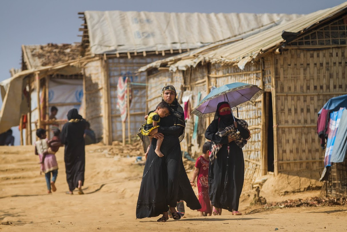 Rohingya refugees in Modhuchara camp in Cox's Bazar, Bangladesh. Many of the dwelling structures are made of bamboo and lack foundations. (Photo by Rajib Dhar for Direct Relief)