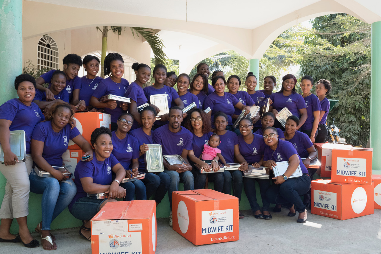 Soon-to-be midwives on their last day of training at Nadene Brunk Eads School in Hinche, Haiti, before graduating in February 2018. Each graduate received a Direct Relief Midwife Kit filled with tools for safe deliveries. (Photo by Cheryl Hanna-Truscott)