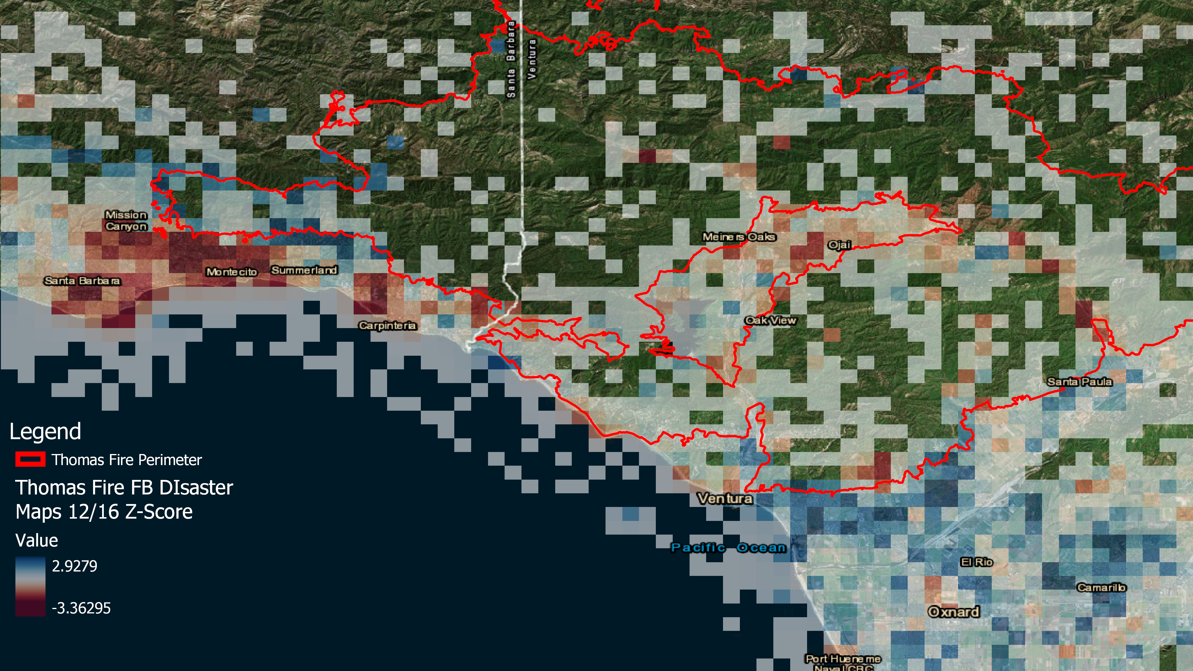 During the Thomas Fire, residents evacuated from areas near the fire boundaries, outlined on this map in red. The squares on the map represent anonymized, aggregated Facebook user locations recorded on December 16, 2018, when the fire was still active. Blue shades represent areas with higher than normal population numbers, and red illustrates lower than normal patterns. The data can be used to illustrate how people move during emergencies, and aid directed accordingly. (Andrew Schroeder/Direct Relief)