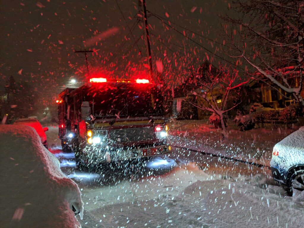 An emergency vehicle in Seattle, Washington as Winter Storm Nadia sweeps across the Pacific Northwest. (Photo courtesy of Seattle Fire Department)
