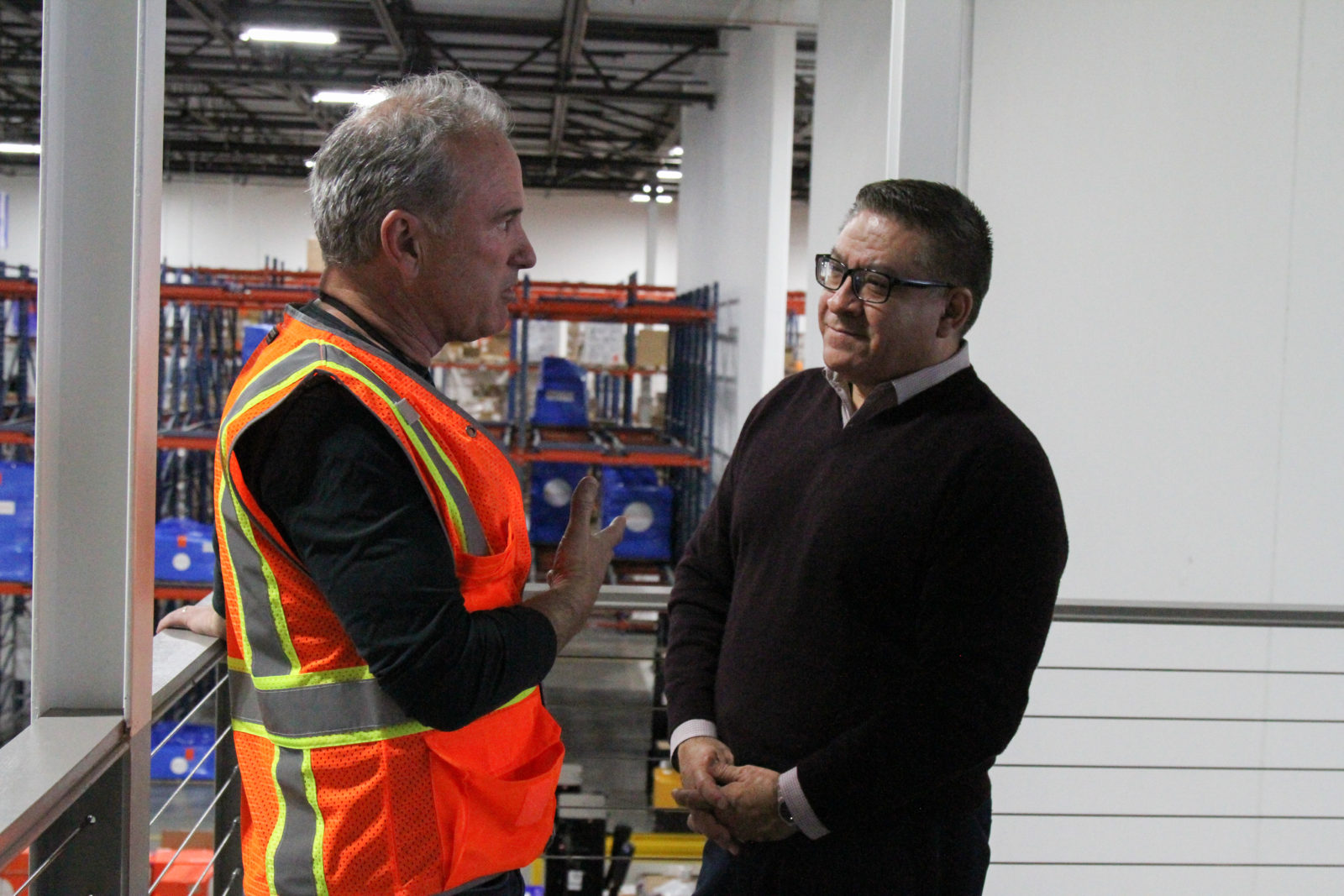 Rep. Salud Carbajal visits Direct Relief's headquarters in Santa Barbara on Feb. 19, 2019, where CEO Thomas Tighe briefed the Congressman on the organization's work. (Lara Cooper/Direct Relief)