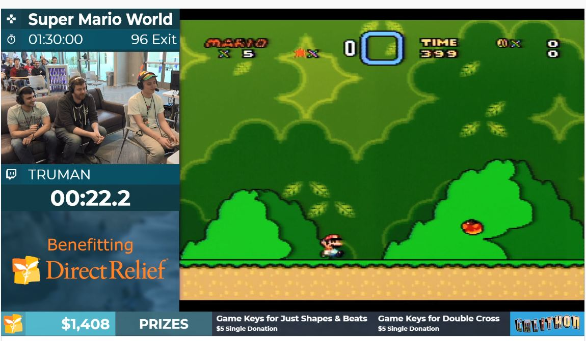 Using the online platform, Twitch, video gamer plays Super Mario World as part of speedrunning marathon for Direct Relief.