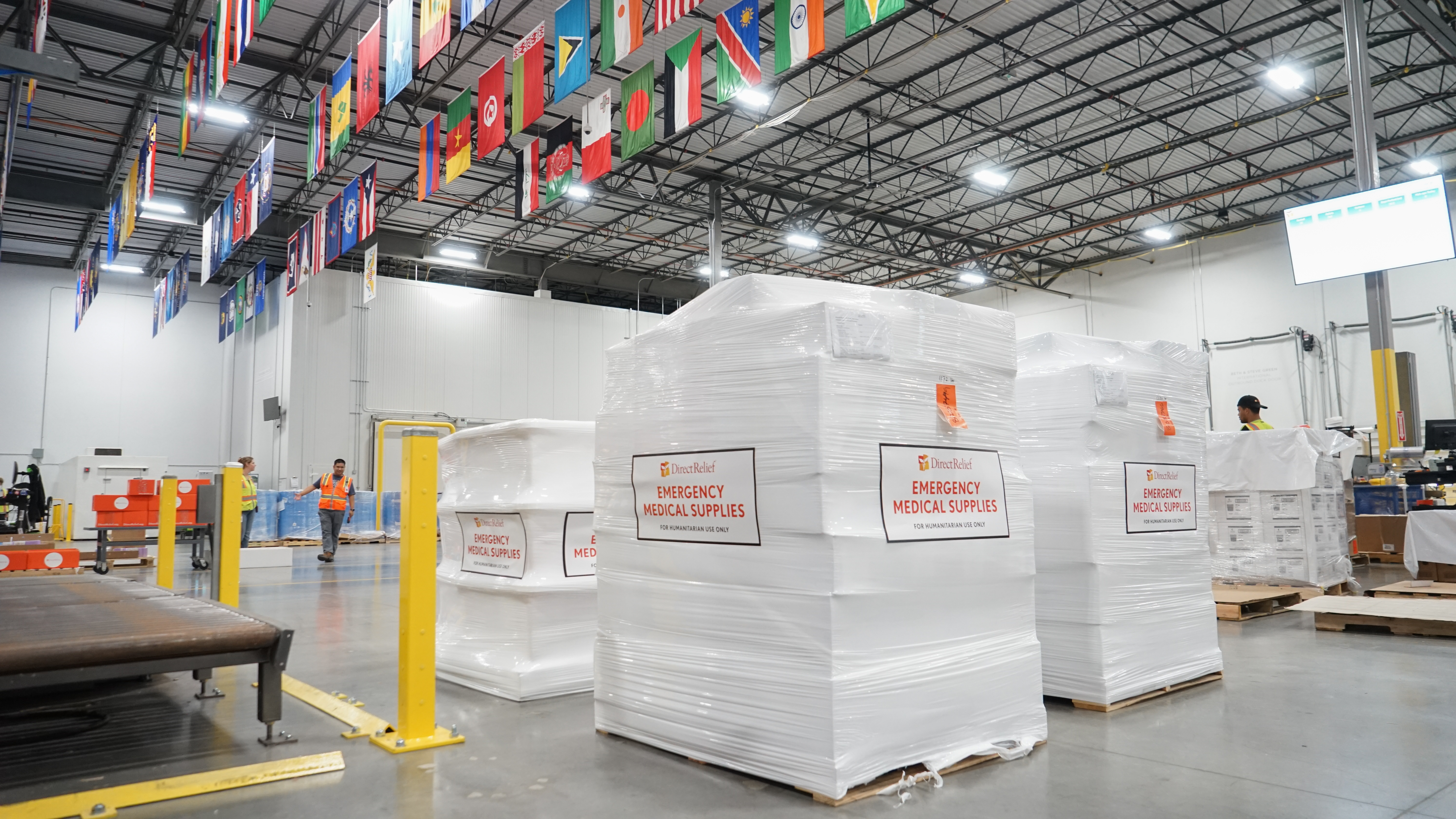Medical supplies bound for the Zambezia Province of Mozambique are staged at Direct Relief's warehouse in Santa Barbara, California, on Friday, March 22, 2019. The organization is shipping essential medical supplies, like antibiotics, wound care, and water purification tablets, to health partners in the region. (Lara Cooper/Direct Relief)