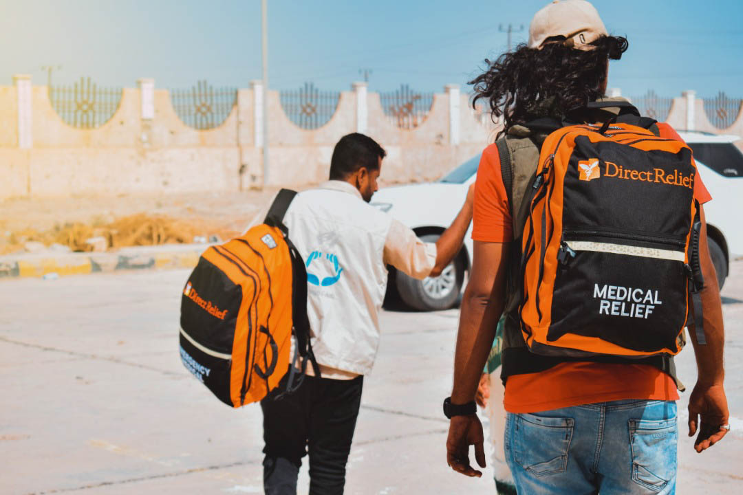 Yemen Aid medical staff respond in Abyan Governorate, Yemen.  Direct Relief recently shipped Emergency Medical Backpacks to the organization, which is using the packs to treat patients where they are, since many health facilities are closed. (Photo courtesy of Yemen Aid)