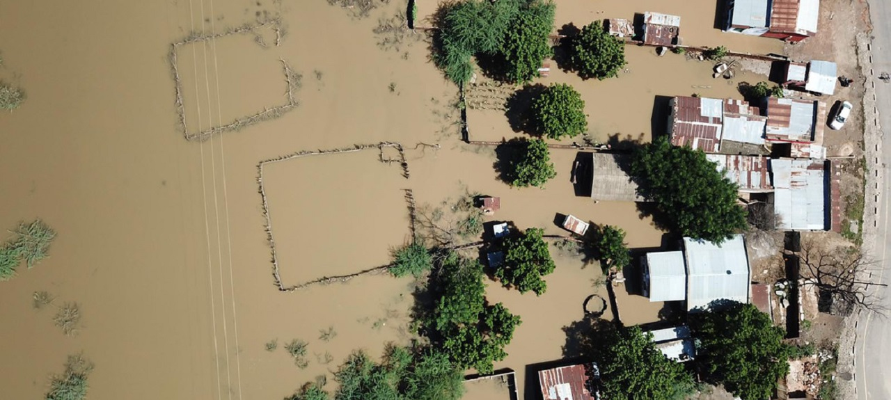 Aerial view of Tengani, Nsanje, which sits on the Malawi-Mozambique border. The region was affected by floods due to incessant rains from March 5 to March 9, 2019. The area was inundated with flooding even before Cyclone Idai made landfall earlier this week in Mozambique. (UNICEF/Juskauskas)