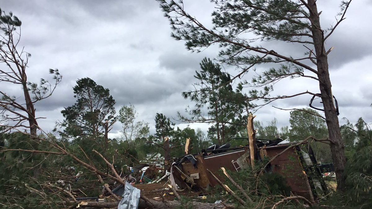 Homes and infrastructure were damaged in Hamilton, Mississippi, on April 14, 2019, after tornadoes devastated the area. A powerful storm system swept through the Southern United States over the weekend, causing dozens of tornadoes. (Photo courtesy of the National Weather Service)