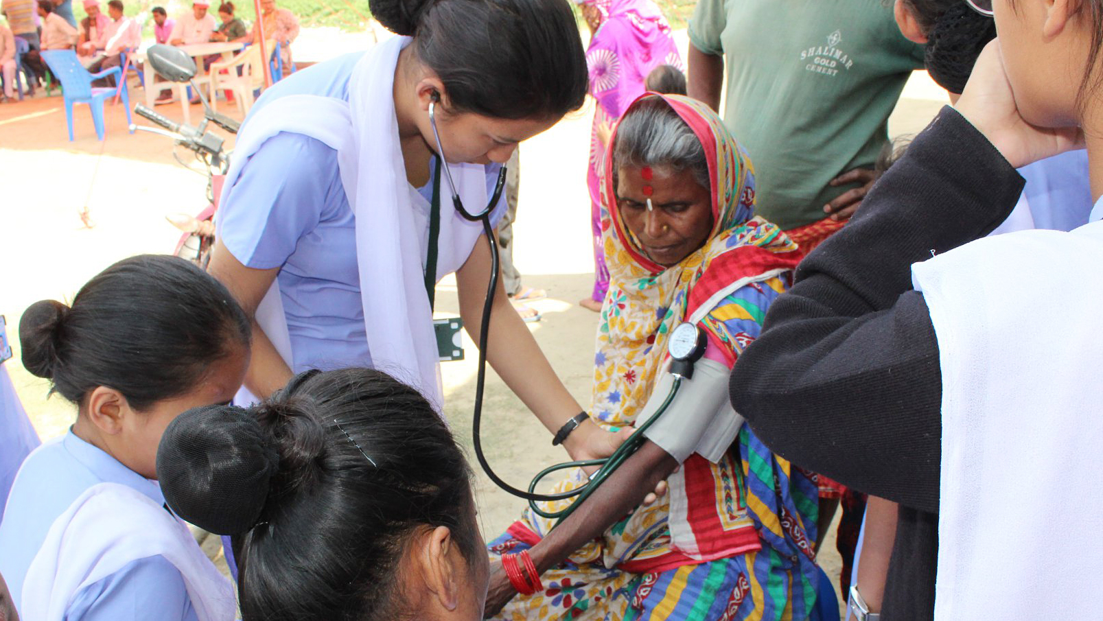 Health staff from Mountain Heart Nepal treat patients in the the Bara District of Nepal after flooding swept through the region. (Photo courtesy of Mountain Heart Nepal)