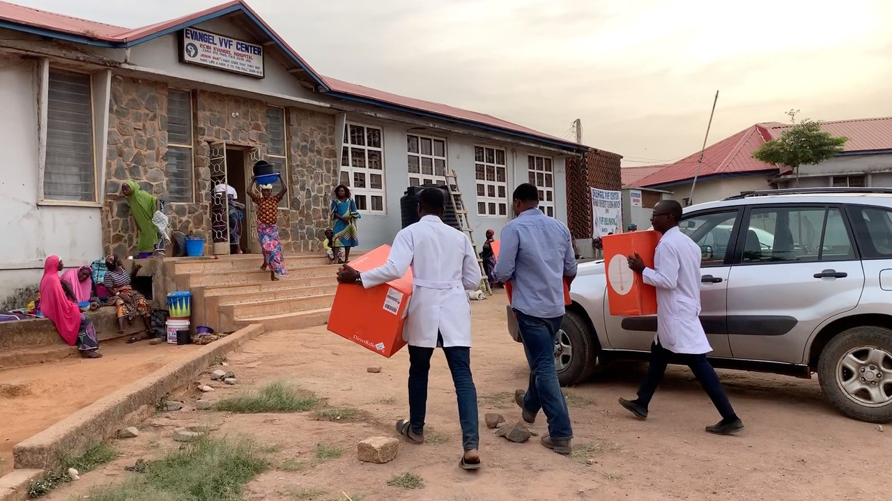 Medical staff from Evangel Hospital in Jos, Nigeria, receive a shipment in March, 2019, from Direct Relief, outfitting doctors with surgical tools to repair obstetric fistula. (Photo courtesy of OFSTAR Project)