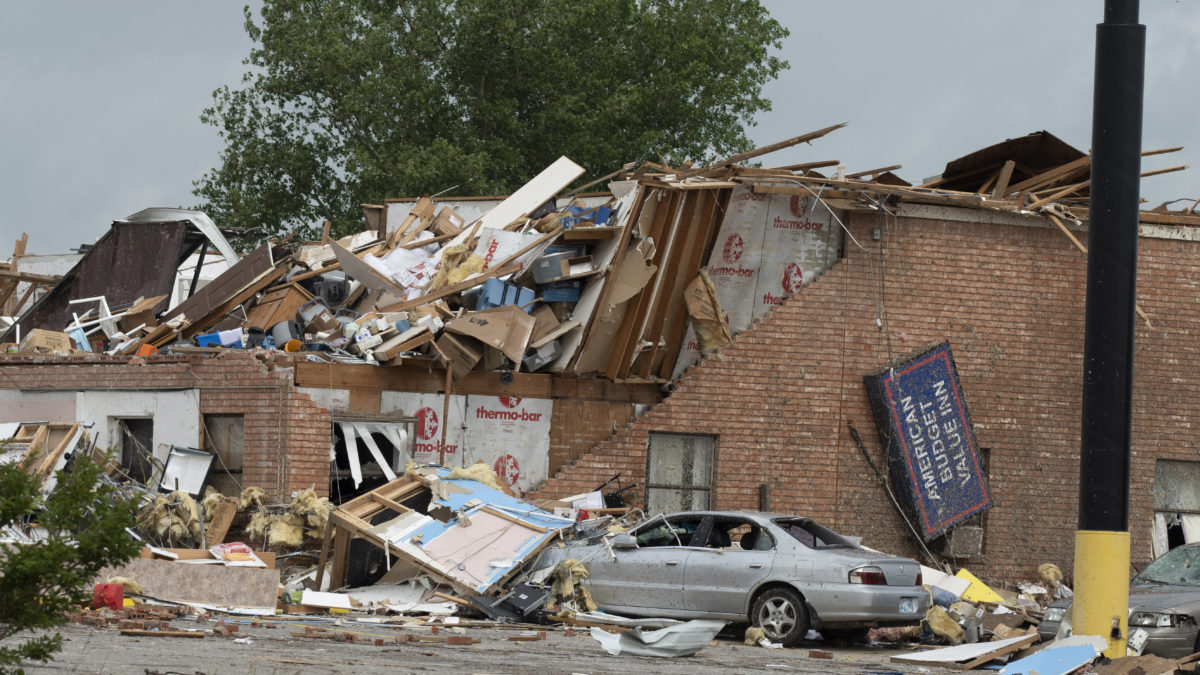 "A deadly tornado barreled through the Oklahoma City suburb of El Reno on March 26, 2019, killing two people. It was one in a series of severe weather events across the U.S. that prompted health centers to assume the role of ""first responder"" and meet the needs of their communities (Photo by J Pat Carter/Getty Images)"