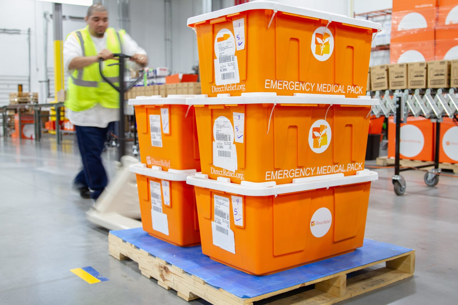 Emergency Medical Packs leave Direct Relief's warehouse. (Lara Cooper/Direct Relief)