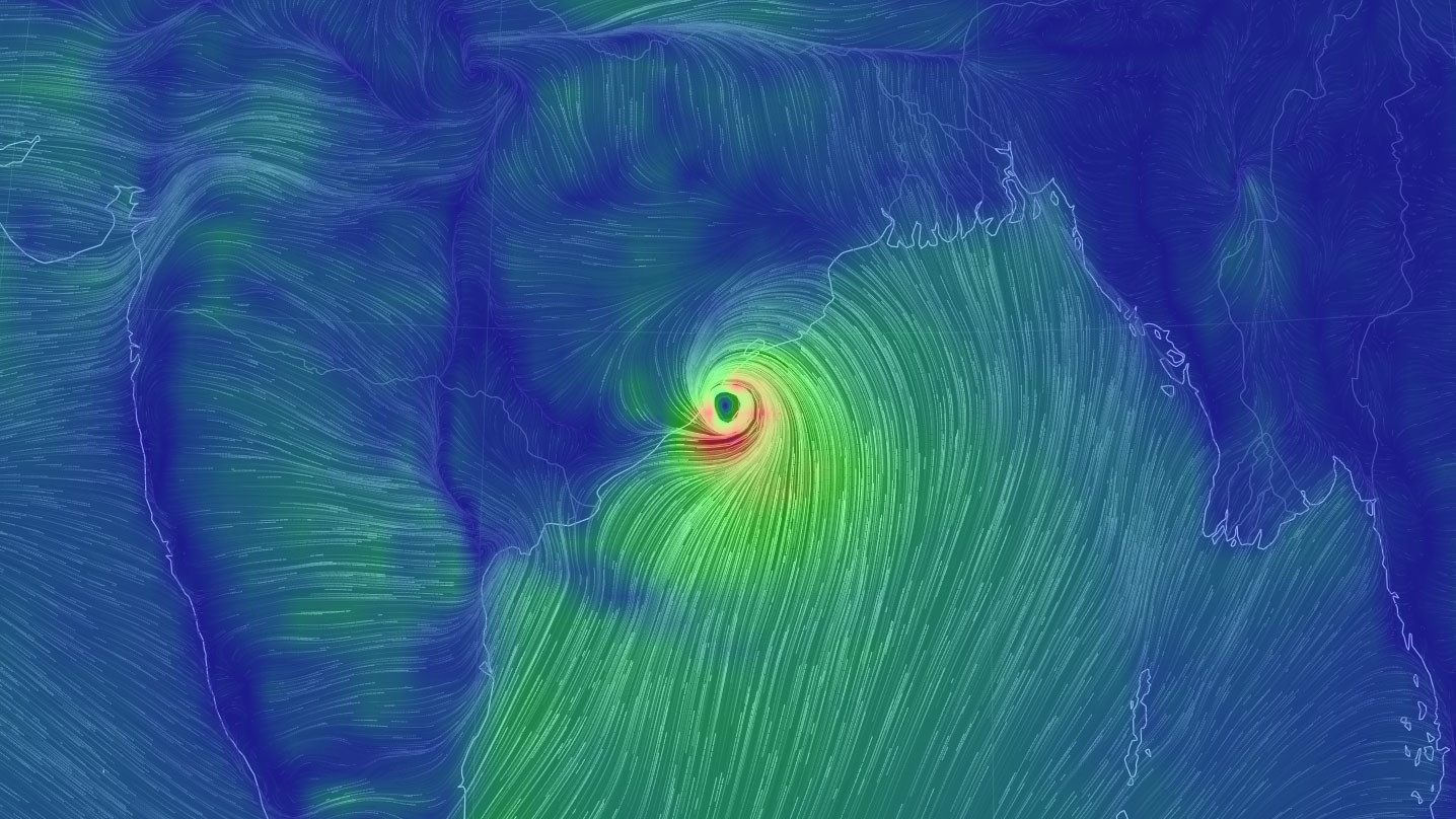 Cyclone Fani is on track to make landfall on Friday in India. (Map courtesy of earth.nullschool.net)