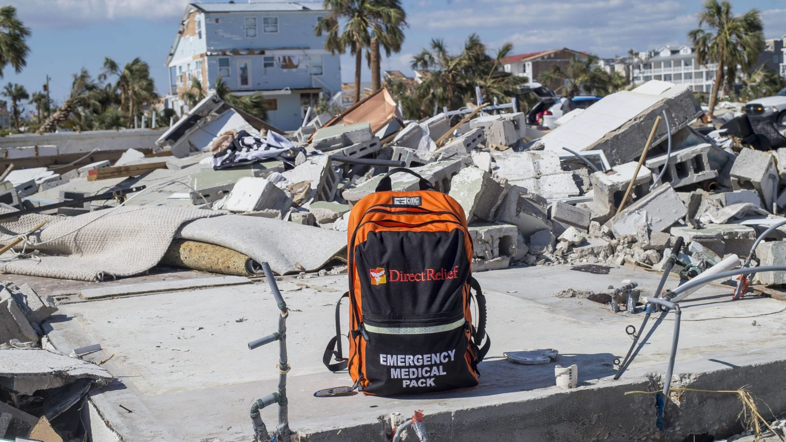 The community of Mexico Beach, Florida, was devastated by Hurricane Michael's impact in October, 2018. Direct Relief delivered emergency medical supplies to first responders, and is expanding hurricane preparedness efforts this year. (Photo by Zack Wittman for Direct Relief)