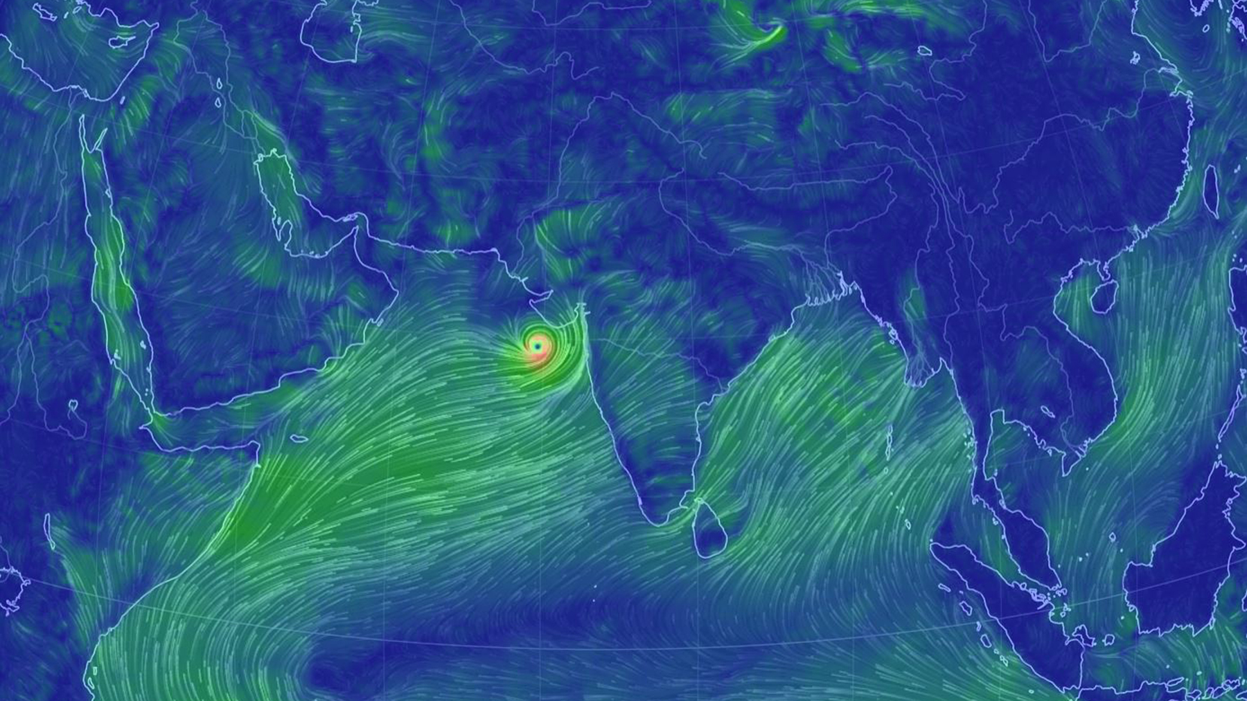 Cyclone Vayu is charging towards western India and southeastern Pakistan and is expected to make landfall Thursday. Direct Relief is contacting local partner healthcare facilities to gauge medical needs.  (Map courtesy of earth.nullschool.net)