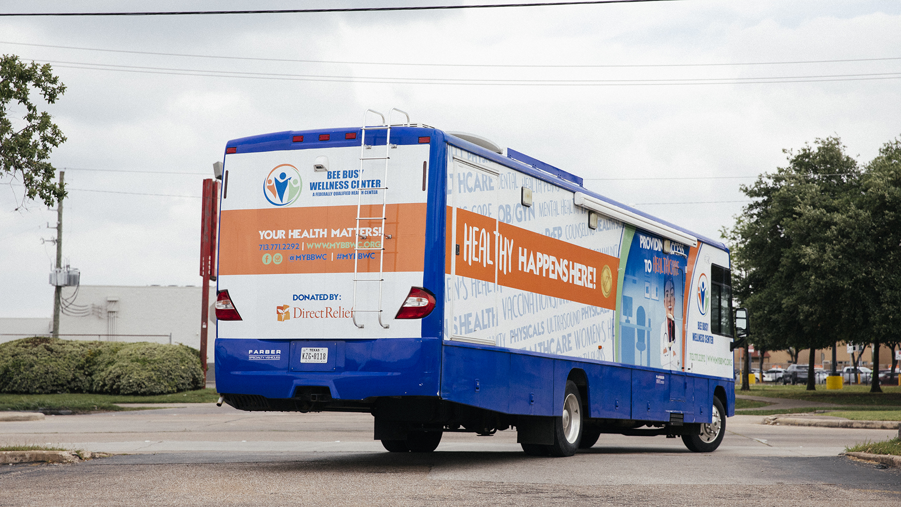 Busy Bee Wellness Center's mobile unit on the move. Direct Relief provided the Federally Qualified Health Center, based in Houston, with funding for a new unit after Hurricane Harvey. (Photo by Donnie Hedden for Direct Relief)