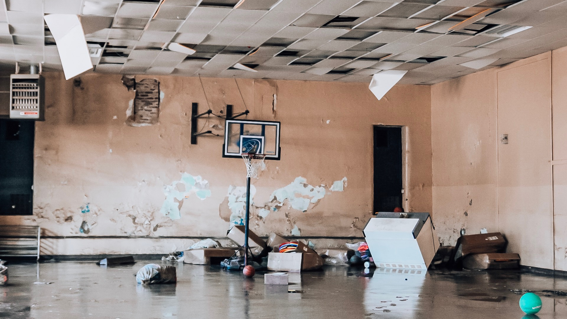 A school gym in eastern Oklahoma was just one of many buildings flooded by ongoing rains in the region, which have displaced thousands. (Photo courtesy of Stigler Health and Wellness Center)