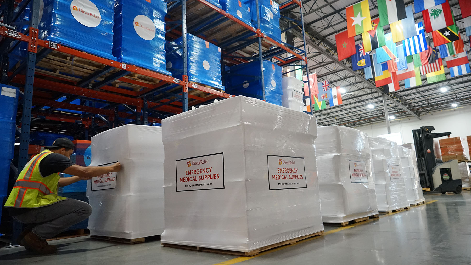 Shipments of essential medical aid, including protective equipment, are staged at Direct Relief's warehouse on July 17, 2019, for transport to the Democratic Republic of Congo, where the second largest outbreak of Ebola is ongoing. The shipment is bound for the country's Ministry of Health, to be used in health facilities across the country, bolstering public health response to the outbreak. On Wednesday, the World Health Organization designated the outbreak a public health emergency of international concern.  (Lara Cooper/Direct Relief)