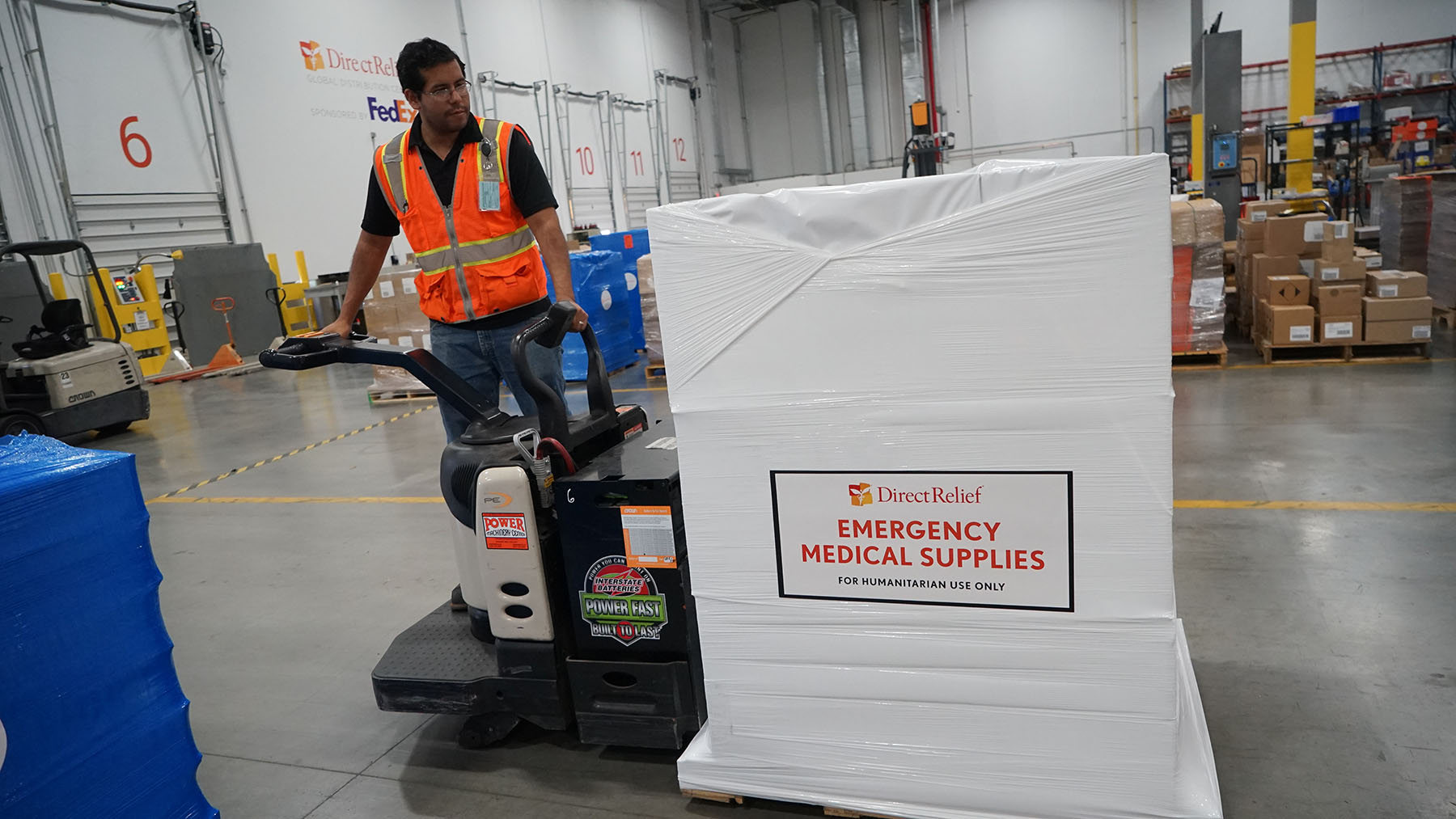 Shipments bound for Dhulikhel Hospital in Nepal leave Direct Relief's warehouse on July 19, 2019, containing medical aid for flooded communities in the region. (Lara Cooper/Direct Relief)