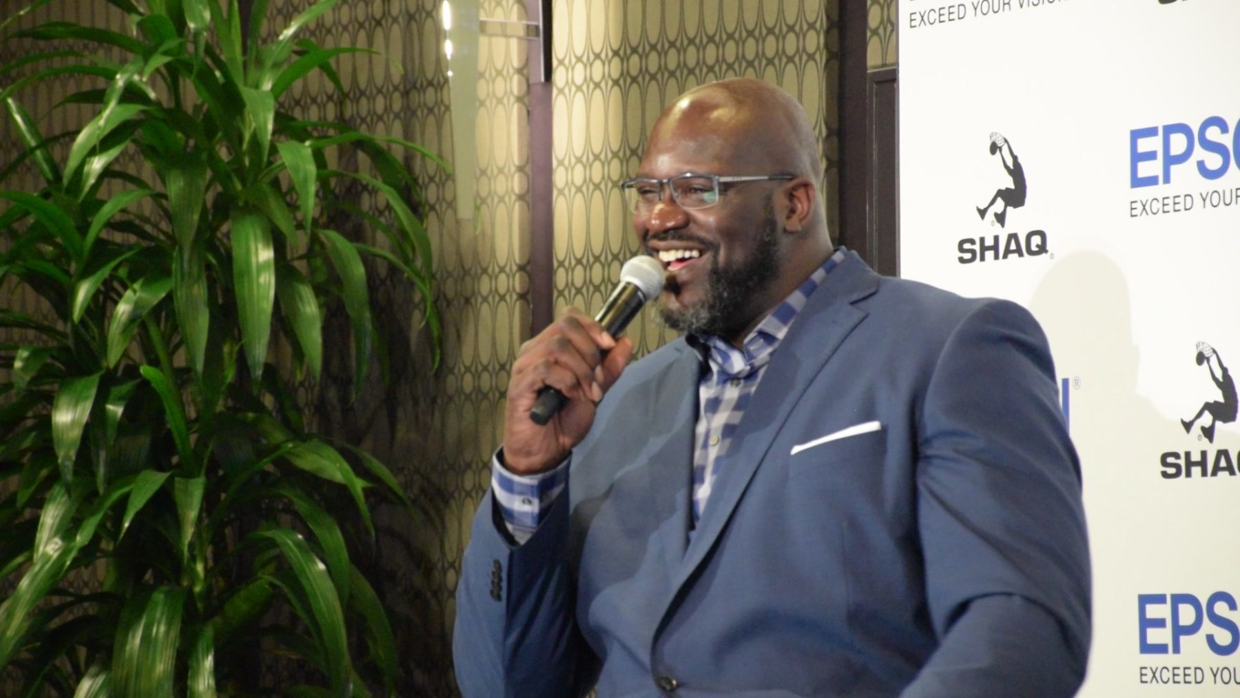 Shaquille O'Neal speaks at an event in Los Angeles last month, and has become a spokesperson for health and other causes he's passionate about. (Photo by Anushka Hauerstock for Direct Relief)