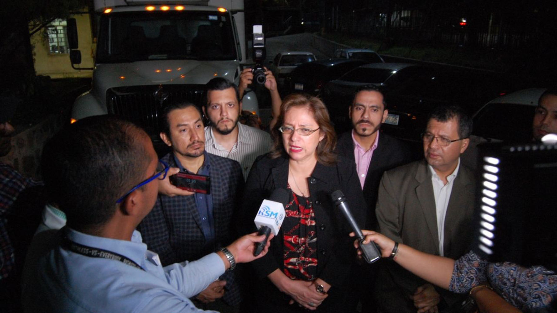 Ana Orellana Bendek, El Salvador's Minister of Health, speaks to the press on July 13 about a newly arrived shipment of Factor VIII, a hemophilia medication, provided by Direct Relief. After the medication was received, the government rushed to get it through Customs. (Photo courtesy of the Salvadoran President's Press Secretary)