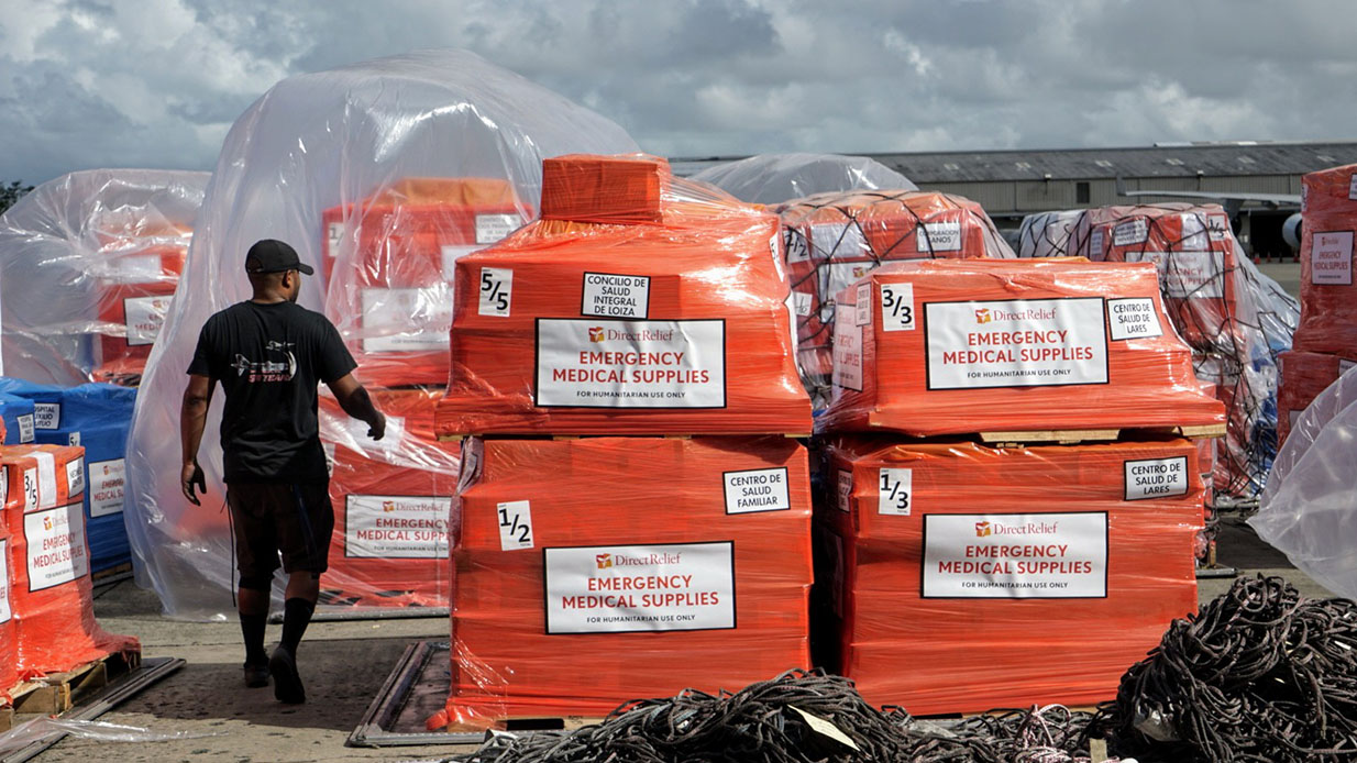 Medical aid reaches Puerto Rico in the weeks following Hurricane Maria, and has continued since. Next week, Direct Relief will disperse the latest round of funding to help health centers and other nonprofits on the island continue recovery efforts. (Lara Cooper/Direct Relief)