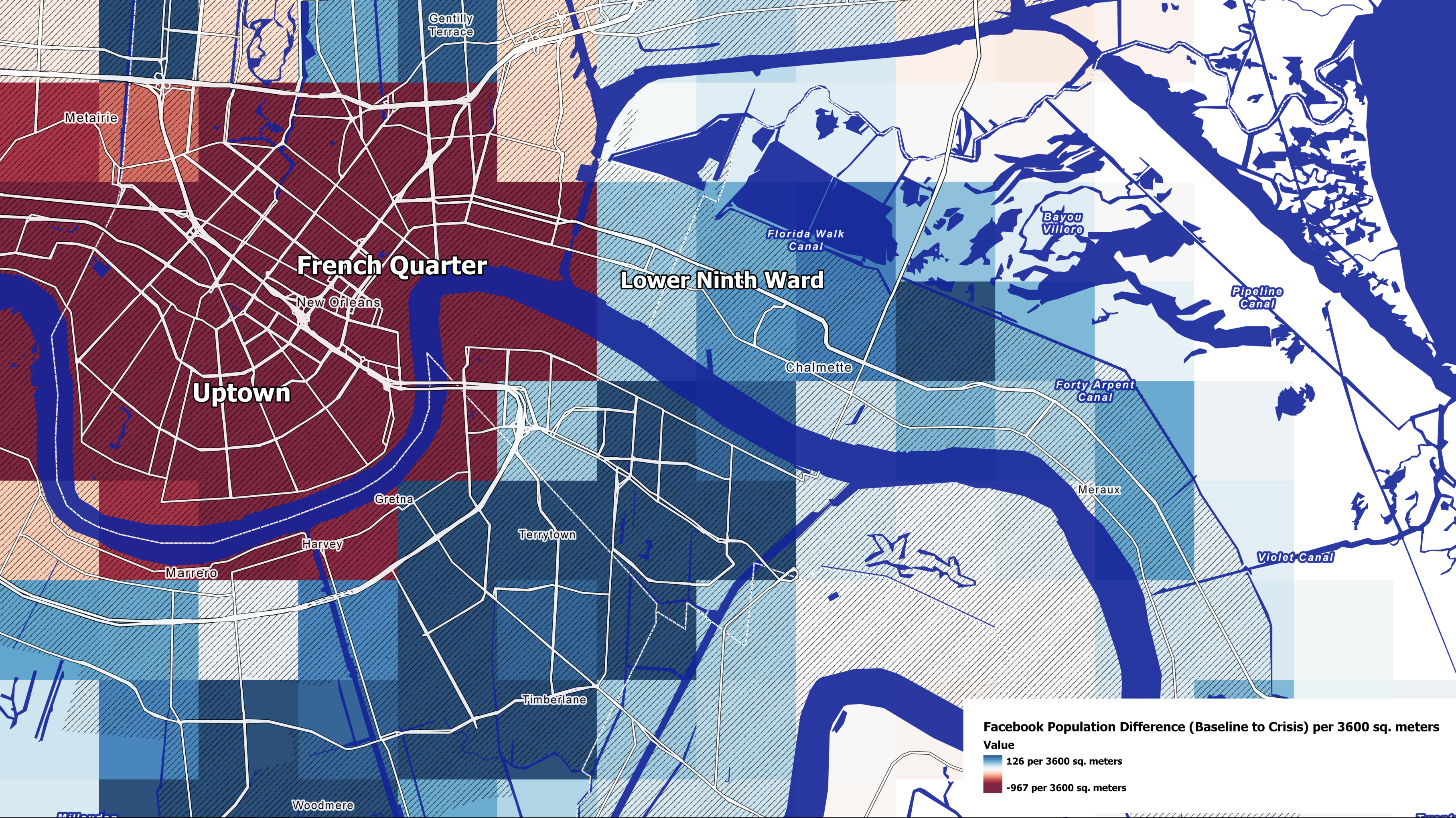 Population change in New Orleans. July 12, 2019 at 12 am. Map by Andrew Schroeder, research and analysis director at Direct Relief.