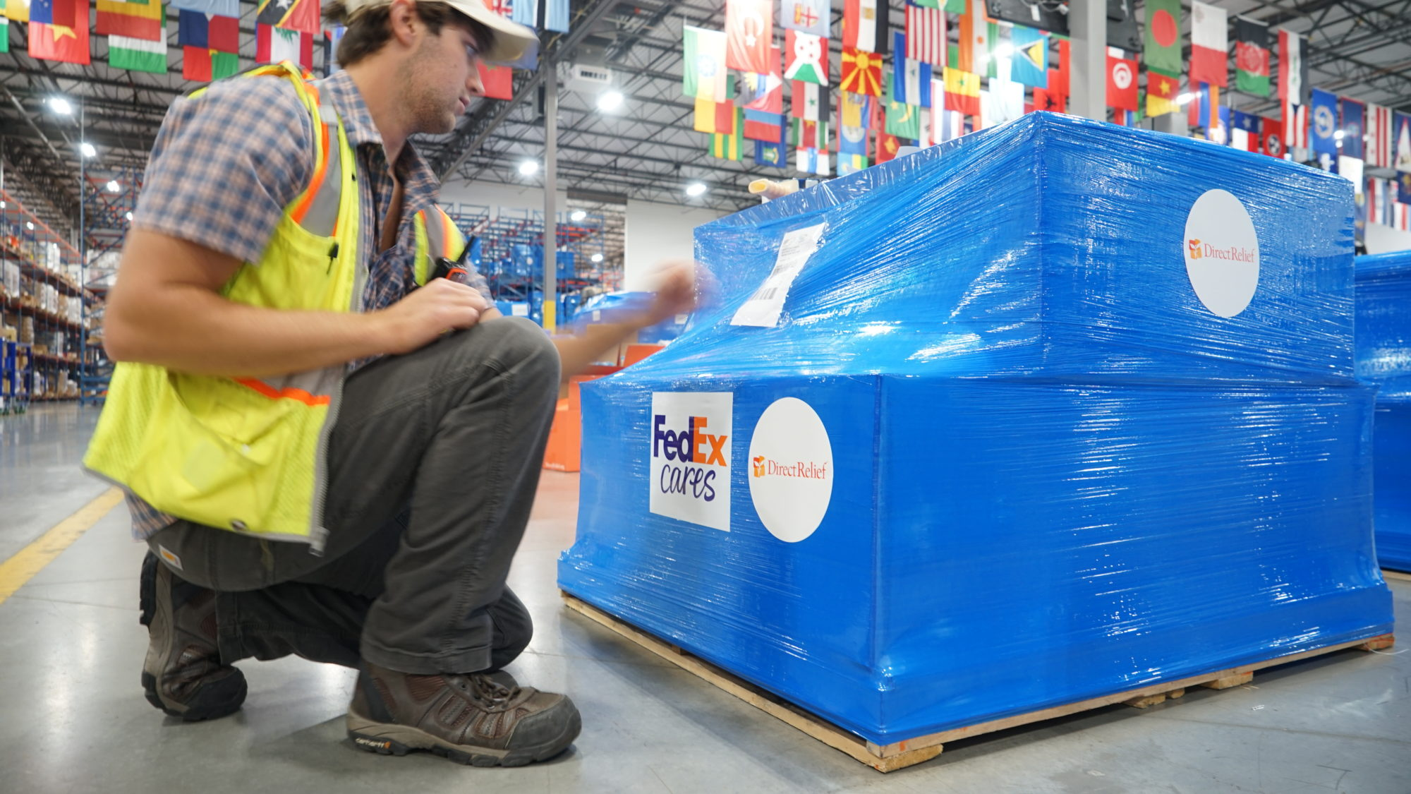 Medical aid for communities threatened by Tropical Storm Barry is prepared for delivery at Direct Relief's California warehouse. (Photo/Tony Morain)