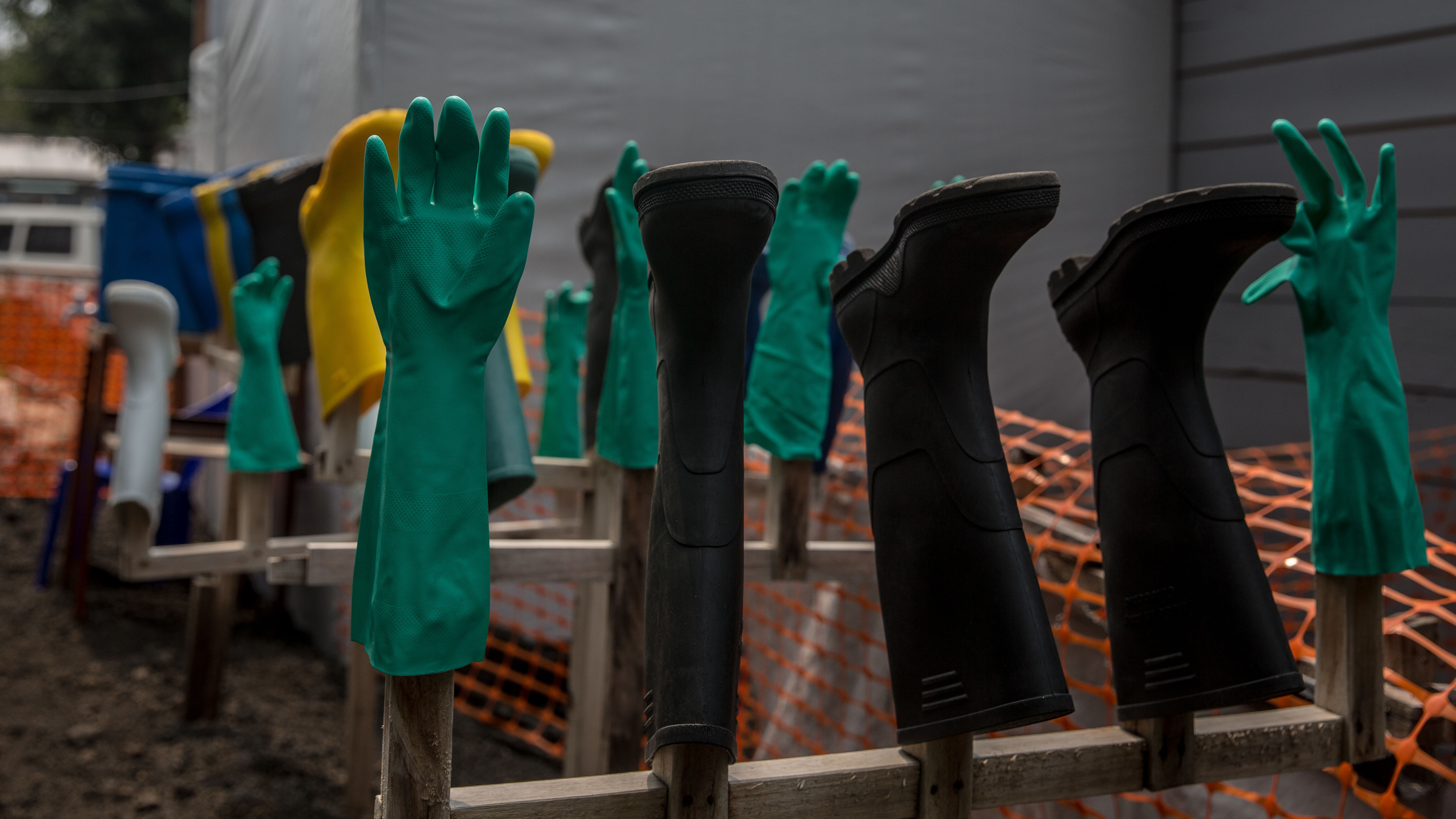 Gloves and boots at an Ebola treatment center in Goma, Democratic Republic of Congo. The DRC is currently experiencing the second worst Ebola outbreak in recorded history. (Photo by Sally Hayden/SOPA Images/LightRocket via Getty Images)