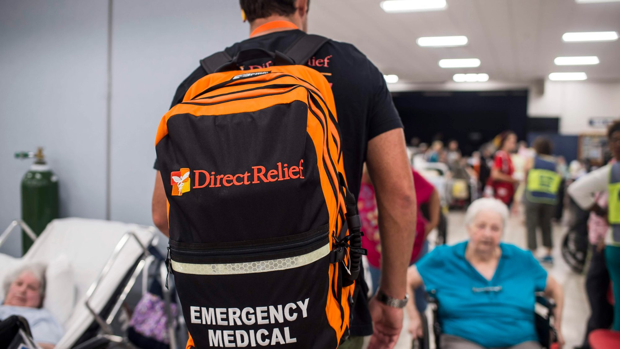 Direct Relief staff deliver medical supplies to a hurricane shelter in Panama City in the aftermath of Hurricane Michael in October 2018. (Photos: Zack Wittman/Direct Relief)