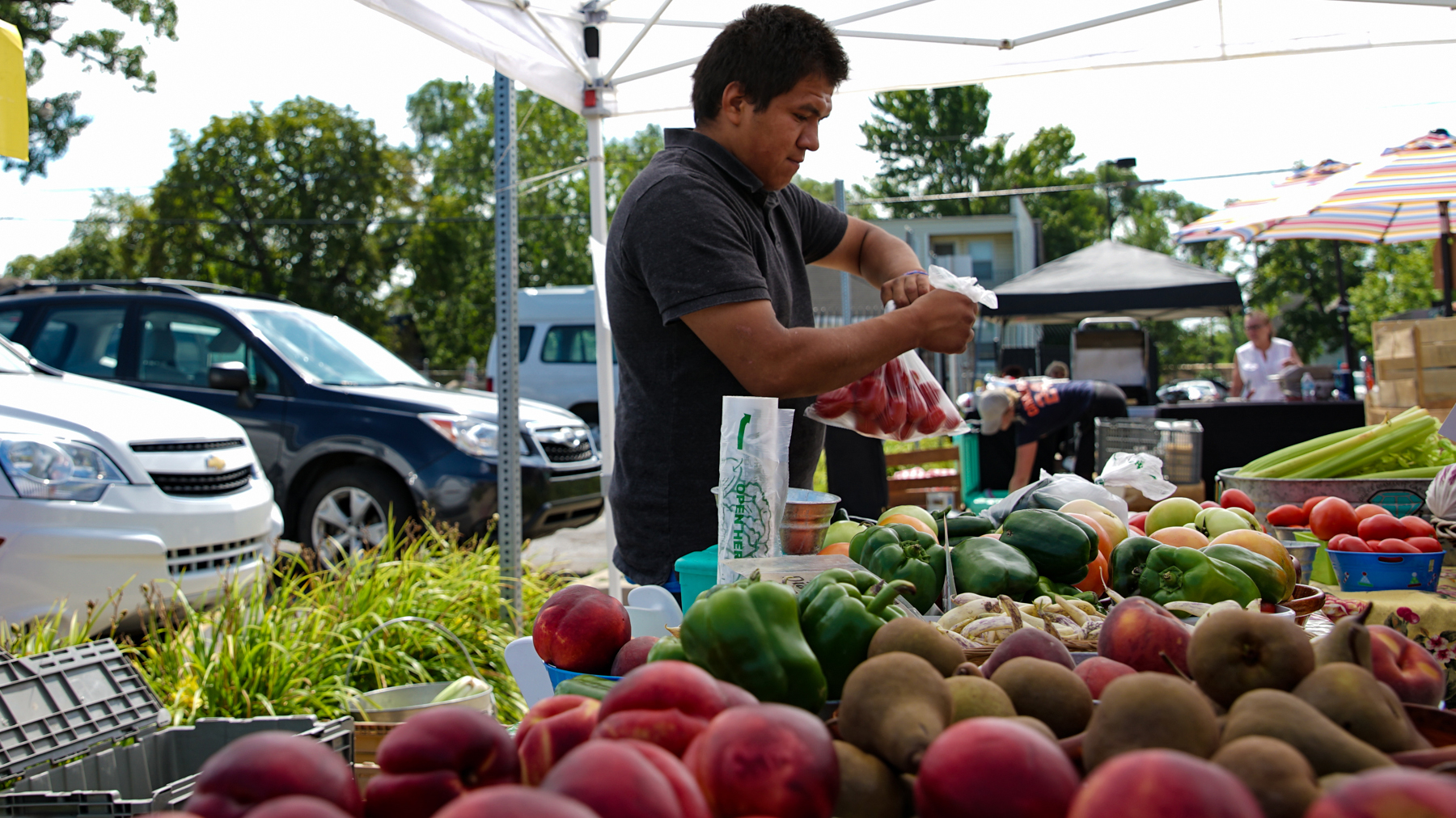 Luis F. Garcia sells locally-grown produce at the weekly summertime mercado at the Community Health and Social Services Center, known as CHASS. The produce was grown at Diamante Gardens, only a few blocks from CHASS in Detroit. The health center has become a hub of community life for area residents. (Noah Smith/ Direct Relief)