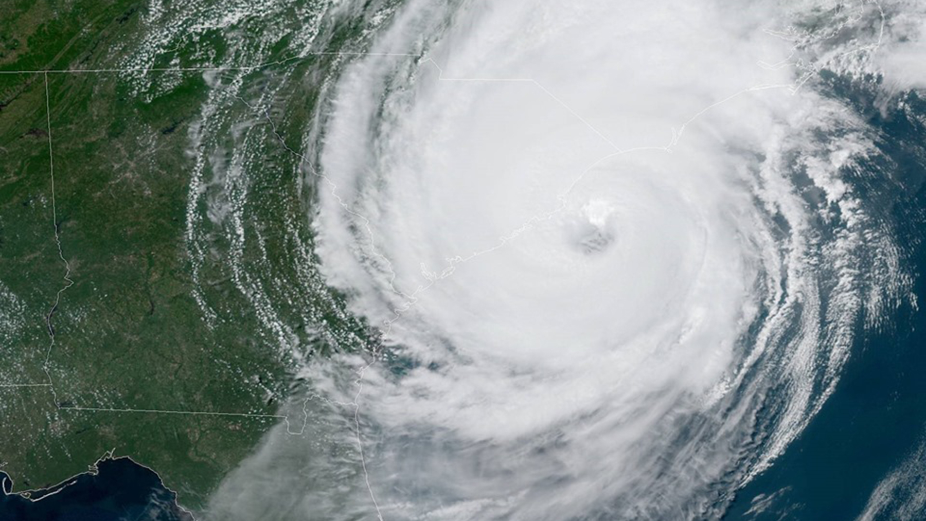Hurricane Dorian off the coast of South Carolina, on the afternoon of September 5. (Image courtesy of the National Hurricane Center)