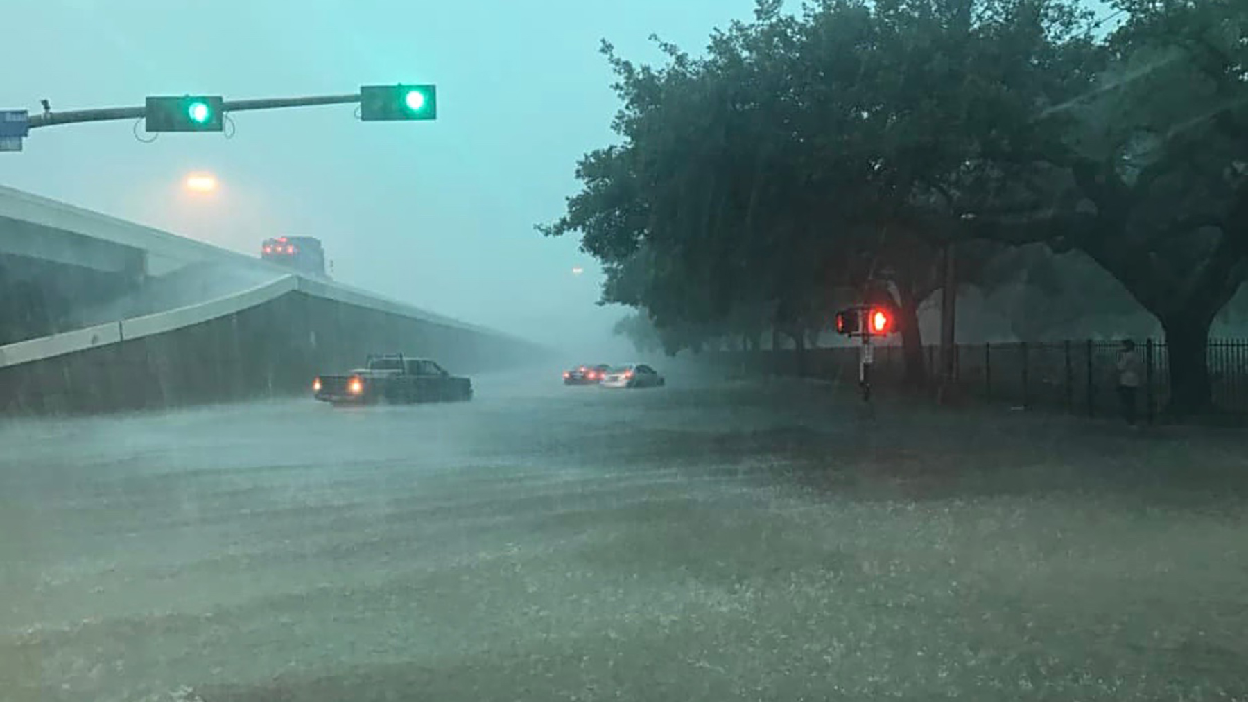 Flooding from Tropical Storm Imelda deluges roadways near HOPE Clinic's newly opened center in Aldine, Texas. Many health providers were still recovering from Hurricane Harvey when the latest round of flooding occurred. (Photo courtesy of HOPE Clinic)
