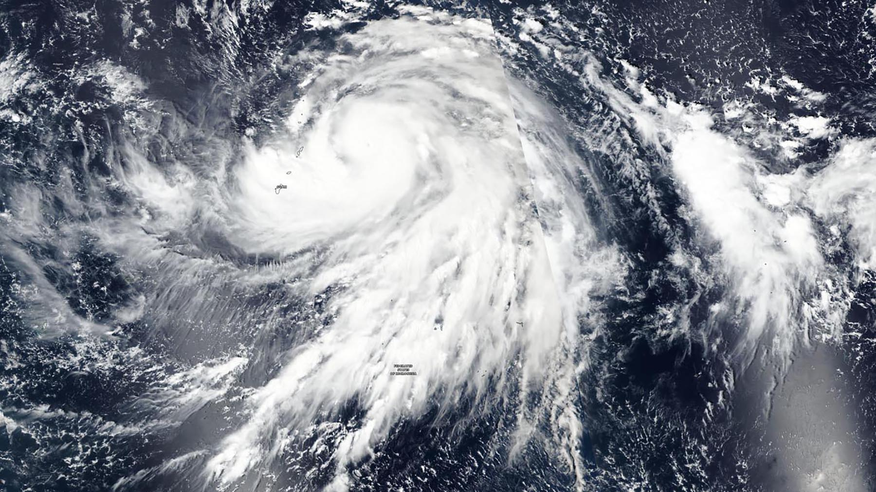 A satellite image shows Super Typhoon Hagibis on Oct. 7, 2019 as it impacts Guam and the Federated States of Micronesia. (Photo by NASA Worldview, Earth Observing System Data and Information System (EOSDIS))
