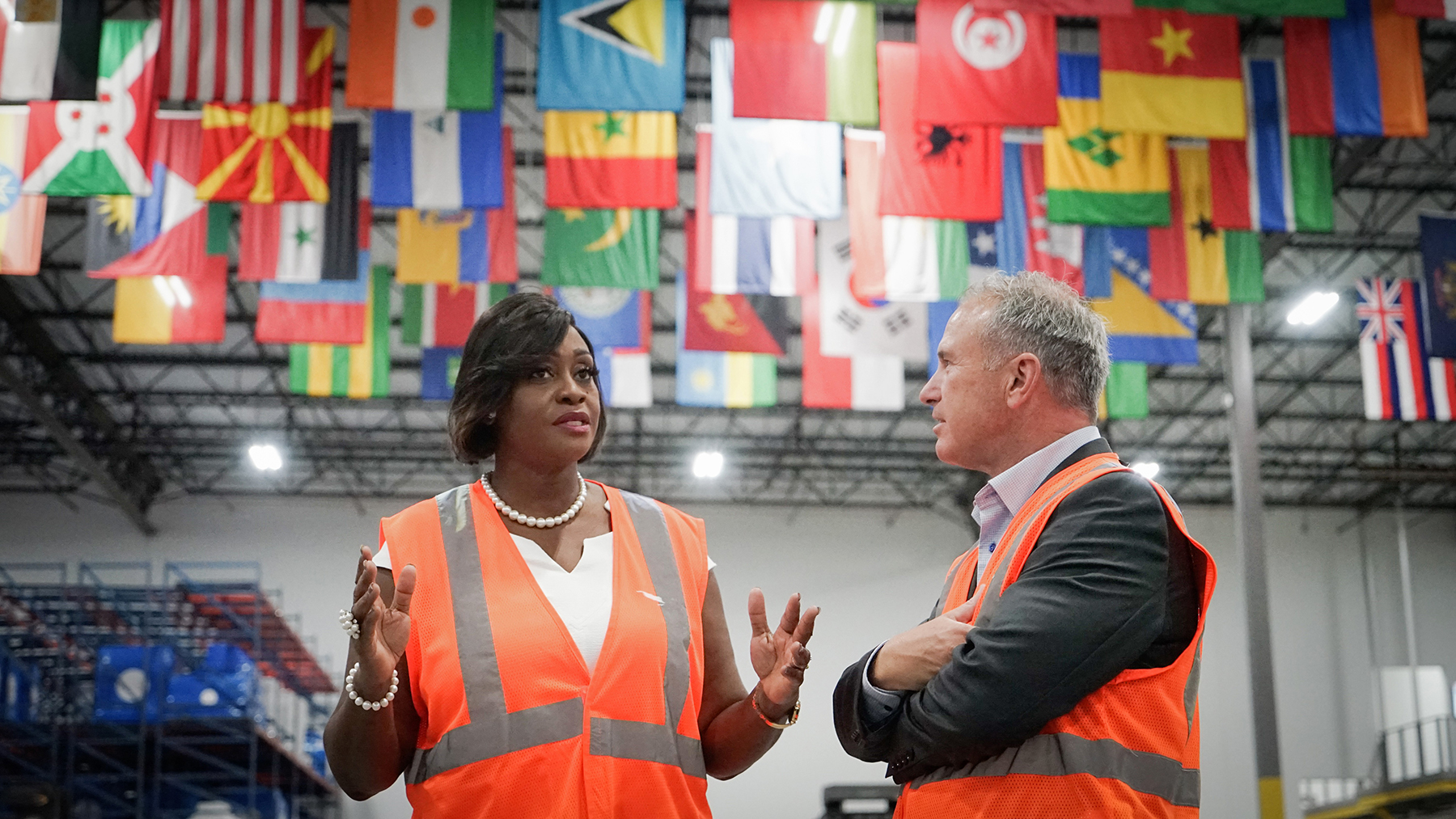 Jamaica's First Lady Juliet Holness visits Direct Relief headquarters on Sept. 26, 2019, when she received a tour of the organization's medical warehouse and briefings from staff. (Lara Cooper/Direct Relief)