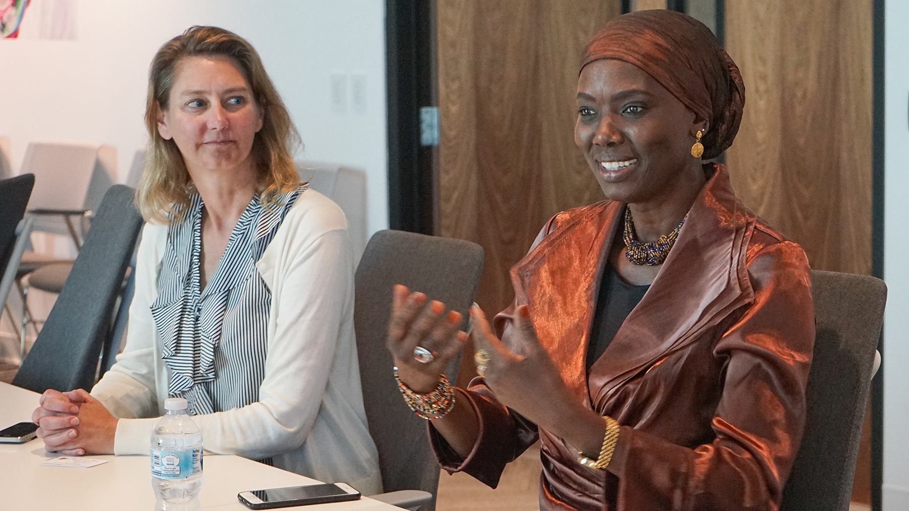 Honorary Consul of Senegal Mame Toucouleur Mbaye meets with leadership at Direct Relief headquarters on Monday, Oct. 21, 2019. (Lara Cooper/Direct Relief)