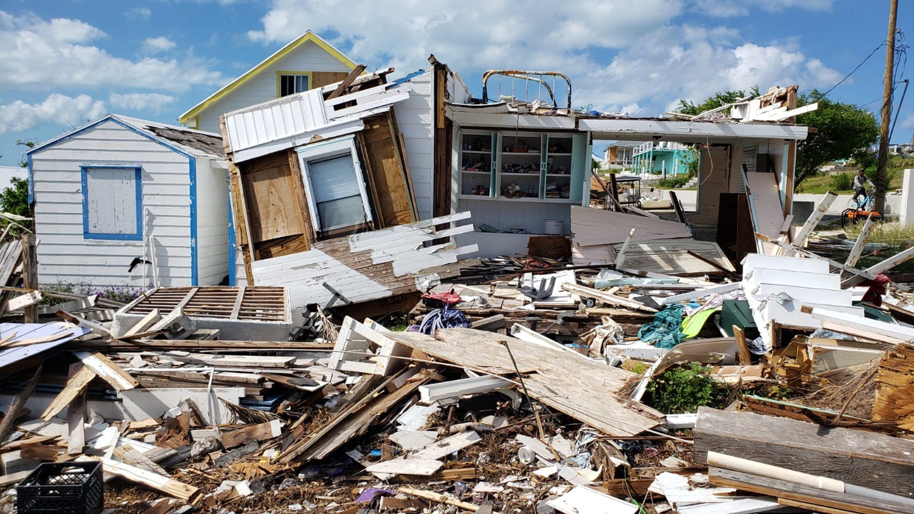 Damage on one of the outlying cays of the Abaco Islands. Many Bahamians returning to the Abacos are sheltering in badly damaged houses. (Andrew MacCalla/Direct Relief)