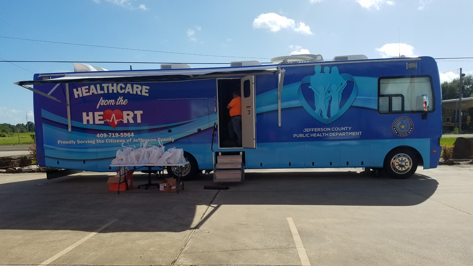 Jefferson County's mobile unit, donated by Direct Relief after Hurricane Harvey, is able to deploy to areas of the East Texas community with limited access to health services, and was recently used after a chemical explosion rocked the Port Neches area. (Photo courtesy of the Jefferson County Public Health Department)