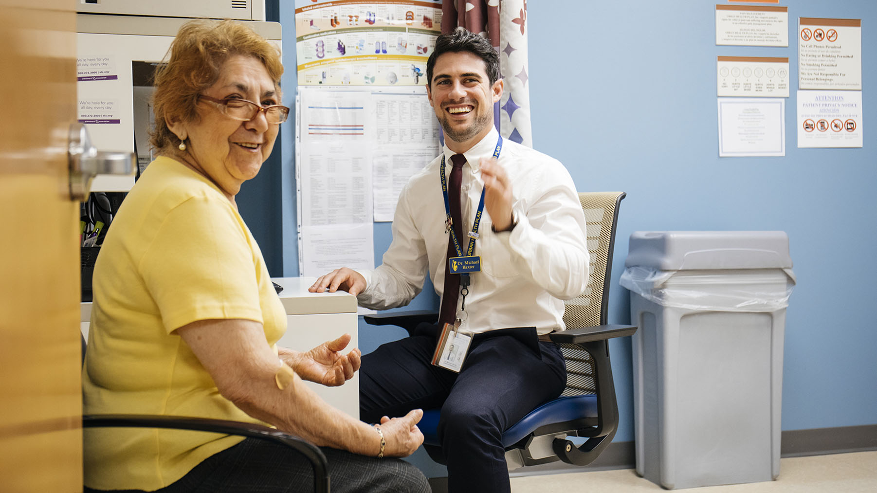 Center for Heathy Aging Patient Maria, and Clinical Pharmacist Michael V. Baxter meet for a consultation at Urban Health Plan, Inc. in the Bronx, New York. (Photo by Donnie Hedden for Direct Relief)