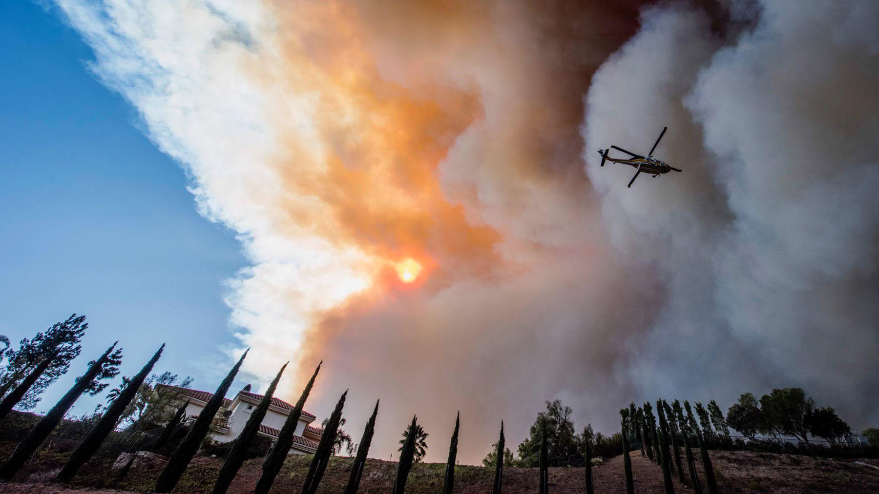 California has registered 17 major disaster declarations since 2014, doubling in rate from previous years. The Woolsey Fire, pictured here, was one such disaster, and the state is working to coordinate with nonprofits and technology companies to better respond to crisis. (Photo courtesy of Erick Madrid)