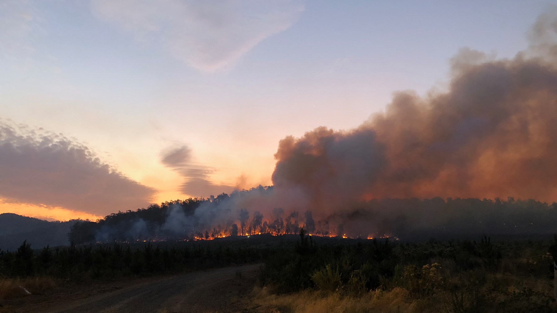 "Bushfires near Moyhu, Australia, on Jan. 11, 2020. Fighting fires ""is a way of helping the community,"" said Alan Sampson, a Moyhu Fire Brigade Captain who has been fighting fires for 40 years. (Photo Courtesy of Moyhu Fire Brigade)"
