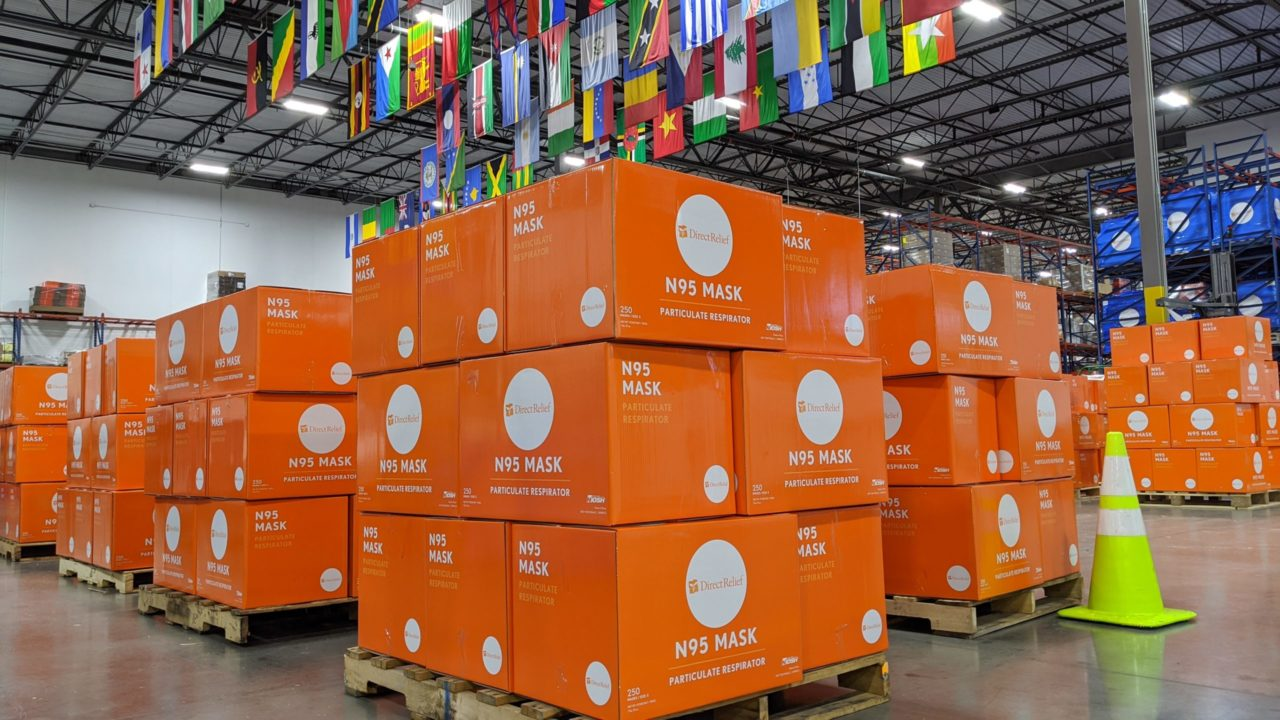 N95 masks staged in Direct Relief's California warehouse. (Tony Morain/Direct Relief)