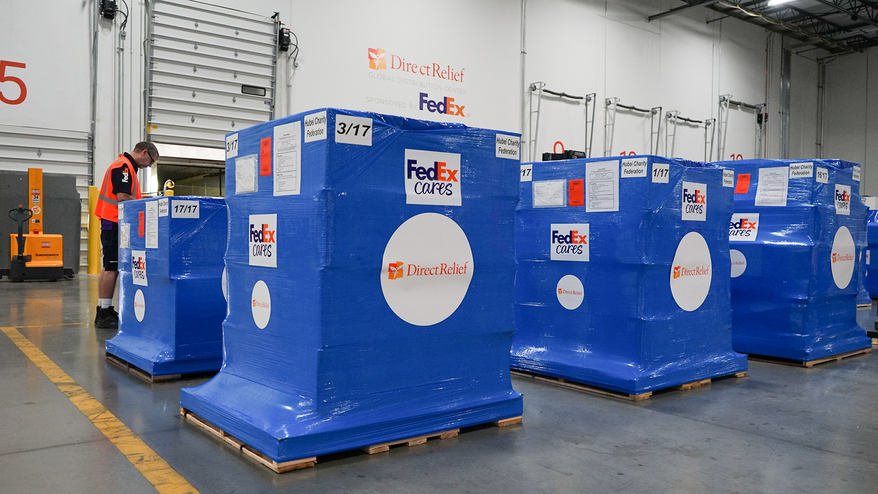 A shipment of medical aid, including personal protective gear, leaves Direct Relief's warehouse on Jan. 27, 2020, bound for China, where it will be used by health care providers to protect against the spread of coronavirus. Transportation for the shipment was provided free of charge by FedEx. (Lara Cooper/Direct Relief)