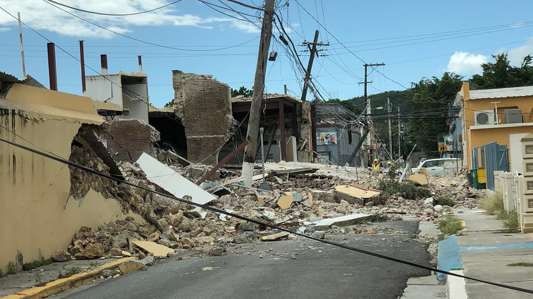 Damage from a 6.4-magnitude earthquake is seen in Guayanilla, Puerto Rico, on January 8, 2020. (Direct Relief photo)