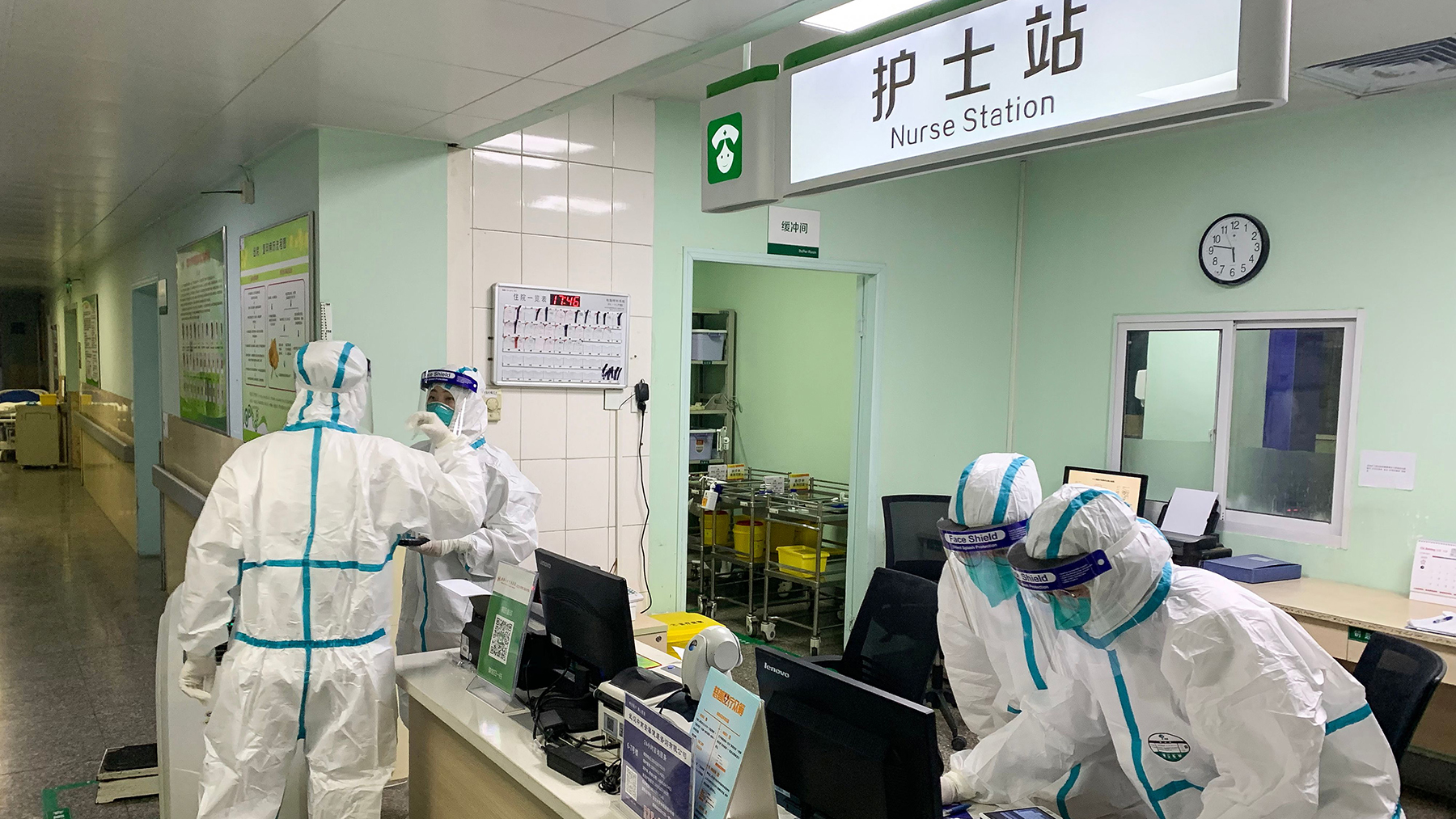Medical staff members wearing protective suits at the Zhongnan hospital in Wuhan in China's central Hubei province on Jan. 22, 2020. (Photo by STR/AFP via Getty Images)