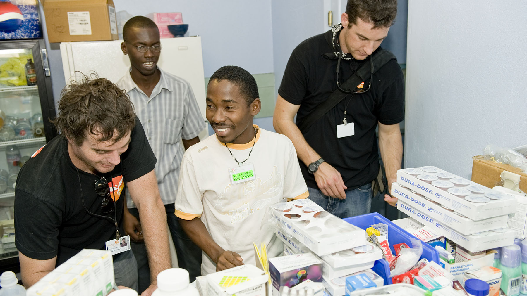 Direct Relief's Andrew MacCalla and Brett Williams at Sacre Couer, or CDTI Hospital, after the 2010 Haiti Earthquake. (Direct Relief)