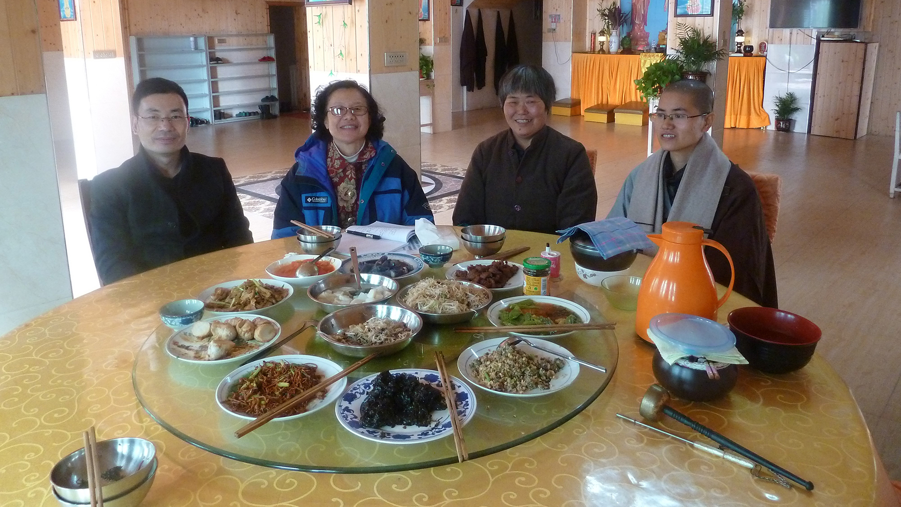 Professor Mayfair Yang, second from left, conducting anthropological research in Wenzhou. (Photo courtesy of Mayfair Yang)