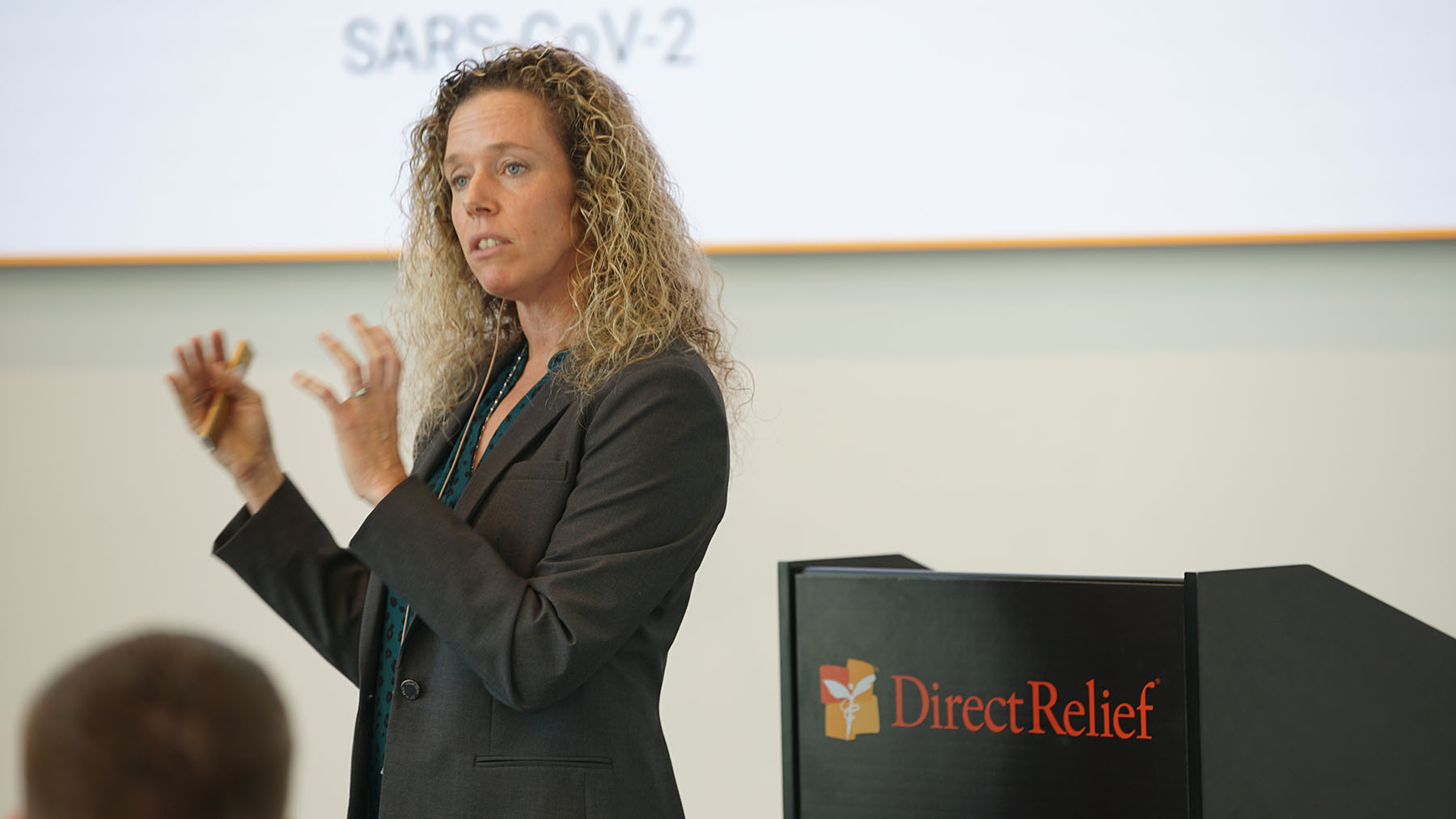 Dr. Lynn Fitzgibbons speaks at Direct Relief's headquarters on March 5, 2020, about the coronavirus outbreak. (Lara Cooper/Direct Relief)
